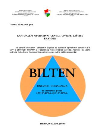 BILTEN OPERATIVNOG CENTRA CIVILNE - Vlada SBK