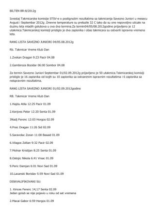BILTEN BR:8/2012g Izvestaj Takmicarske komisije STSV