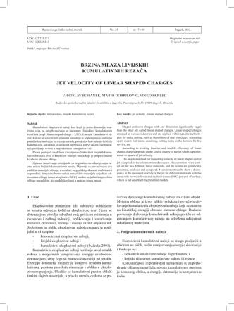 brzina mlaza linijskih kumulativnih rezača jet velocity of linear