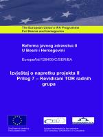 Izvještaj o napretku projekta II Prilog 7 – Revidirani TOR radnih grupa
