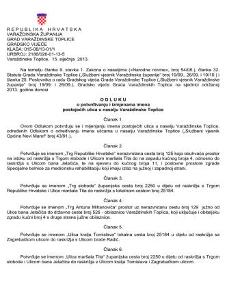 1. Odluka o potvrđenju i izmjenama imena postojećih ulica u naselju