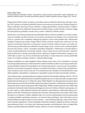 Dario Nikić Čakar: Prezidencijalizacija političkih stranaka