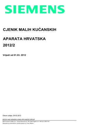 CJENIK MALIH KUĆANSKIH APARATA HRVATSKA 2012/2