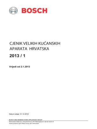 cjenik velikih kućanskih aparata hrvatska 2013 / 1