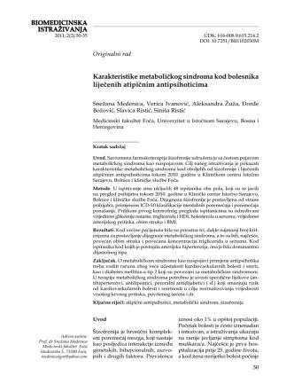 BIOMEDICINSKA ISTRAŽIVANJA Karakteristike metaboličkog
