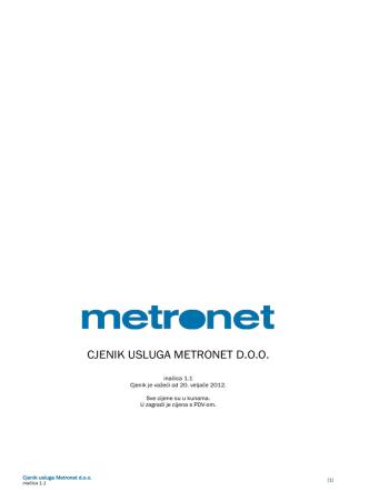 CJENIK USLUGA METRONET D.O.O.