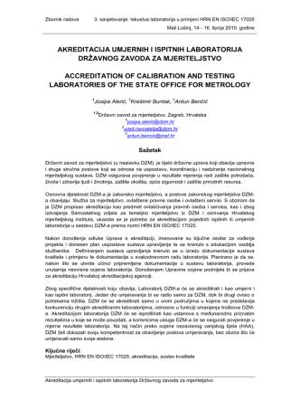akreditacija umjernih i ispitnih laboratorija državnog zavoda za