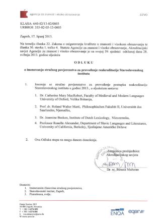 Akreditacijska preporuka (PDF)