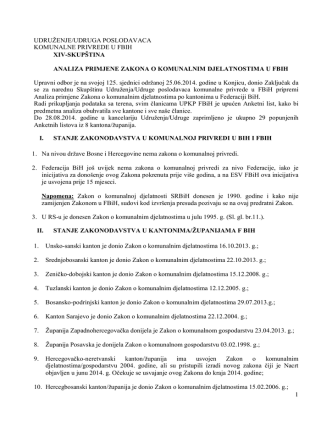 Analiza - Udruzenje/udruga poslodavaca komunalne privrede u FBiH