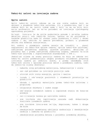 3. Tehnički uslovi za izvođenje radova