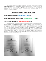τιμες πρατηριου καυσιμων πον βενζινη unleaded 95 (απλη)
