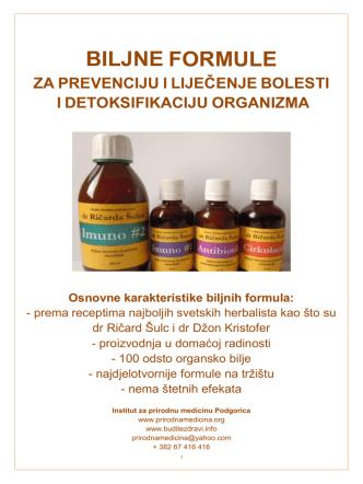 biljne formule - Institut za prirodnu medicinu Podgorica