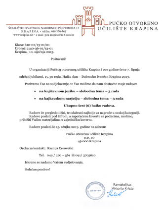 2140-36-01/13-01 Krapina, 10. siječnja 2013. Poštovani!