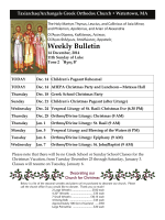 Weekly Bulletin - Taxiarchae/Archangels Greek Orthodox Church