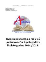 """Izvještaj ravnatelja o radu OŠ """"Antunovac"""" u 1. polugodištu školske"""