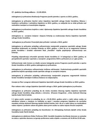 11. ožujka 2014. - Zajednica športskih udruga grada Varaždina