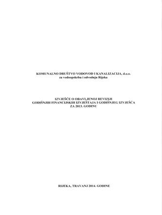 4. Izvješće o obavljenoj reviziji financijskih izvještaja za 2013.