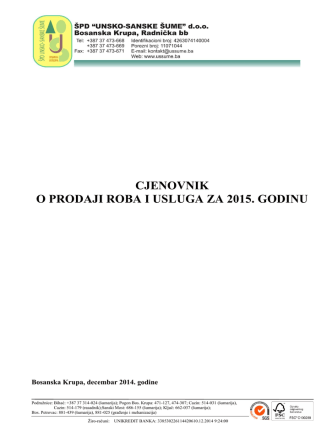 Cjenovnik - Unsko