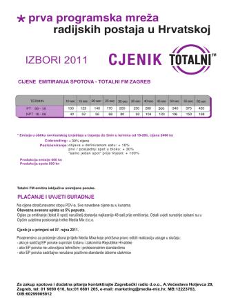CJENIK _ novi 2011