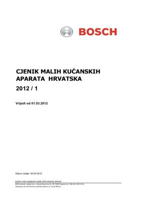 CJENIK MALIH KUĆANSKIH APARATA HRVATSKA 2012 / 1