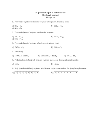 2. pismeni ispit iz informatike Brojevni sustavi Grupa A 1. Pretvorite