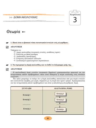 1. Ποιοί είναι οι βασικοί τύποι συνιστωσών/εντολών ενός αλγορίθμου