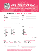 PRIJAVNICA / APPLICATION FORM