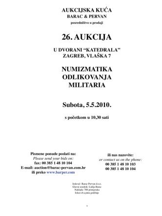 26. AUKCIJA - Barac & Pervan aukcijska kuća
