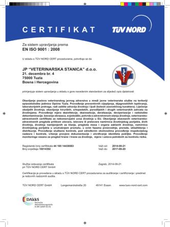 CERTIFIKAT - Veterinarska stanica Tuzla