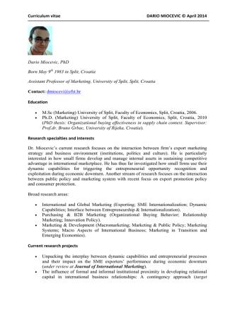 Curriculum vitae DARIO MIOCEVIC