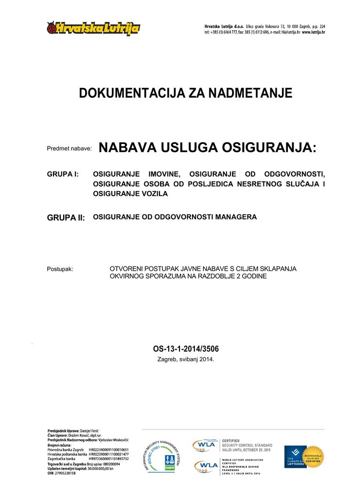 Dokumentacija Za Nadmetanje Predmet