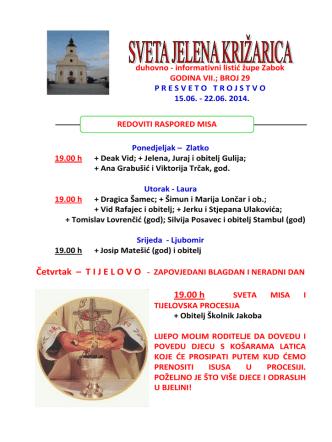 19.00 h - Župa sv. Jelene Križarice, Zabok