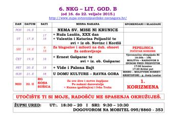 6. NKG – LIT. GOD. B - Župa svete Terezije Avilske Ravna Gora