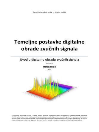 1.0. Temeljne postavke digitalne obrade zvučnih signala