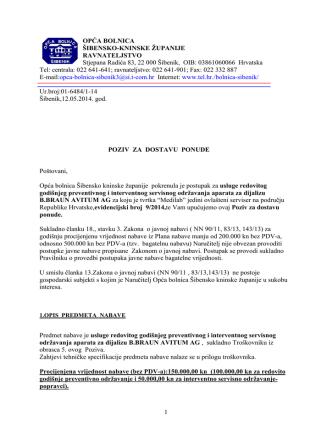 12.05.2014. Poziv za dostavu ponude za usluge redovitog