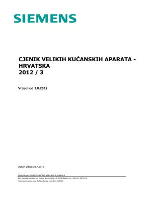 cjenik velikih kućanskih aparata - hrvatska 2012 / 3