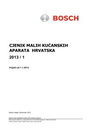 CJENIK MALIH KUĆANSKIH APARATA HRVATSKA 2013 / 1