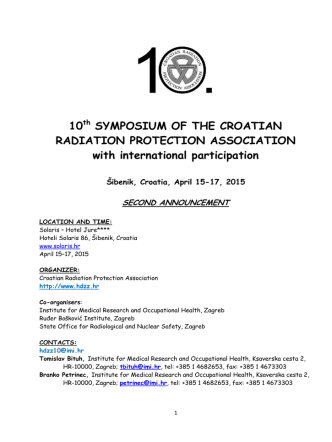10th SYMPOSIUM OF THE CROATIAN RADIATION