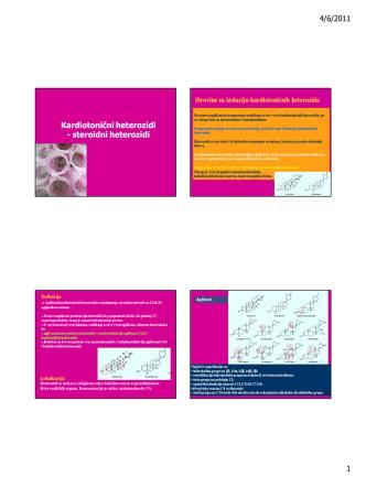4/6/2011 1 Kardiotonični heterozidi - steroidni