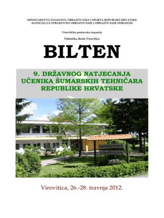 Bilten 9. državnog natjecanja šumarskih tehničara Republike