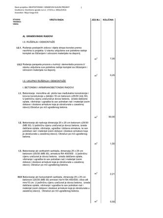 A) GRAĐEVINSKI RADOVI I.0. RUŠENJA I