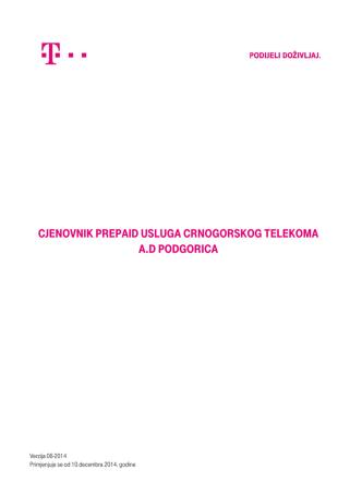 Cjenovnik prepaid usluga Crnogorskog Telekoma a.d Podgorica