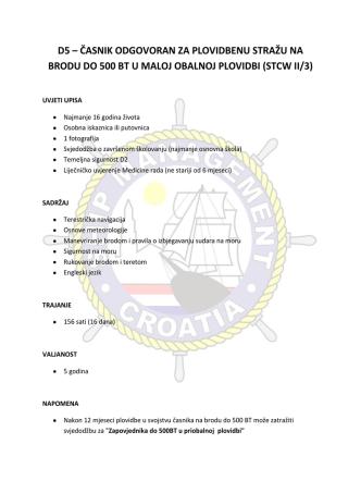 d5 – časnik odgovoran za plovidbenu stražu na brodu do 500 bt u