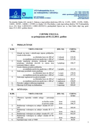 CJENIK USLUGA sa primjenom od 01.12.2011. godine