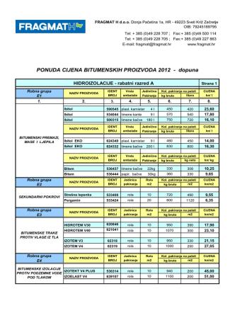 Cjenik bitumenskih proizvoda 2012