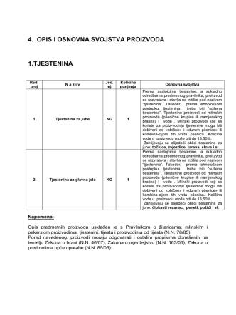 4. opis i osnovna svojstva proizvoda 1.tjestenina