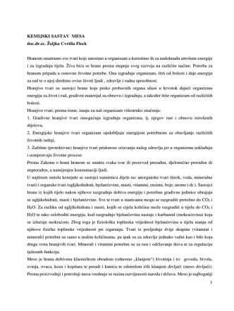 1 KEMIJSKI SASTAV MESA doc.dr.sc. Željka Cvrtila Fleck Hranom