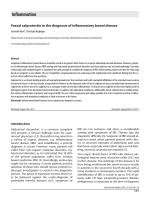 Faecal calprotectin in the diagnosis of inflammatory bowel disease