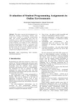 Evaluation of Student Programming Assignments in Online