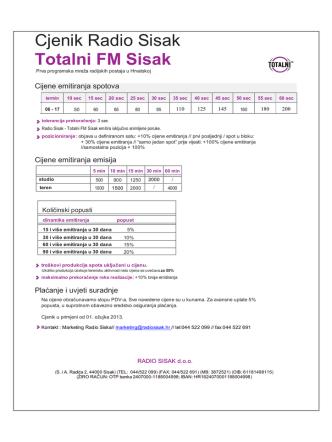 Cjenik Radio Sisak Totalni FM Sisak